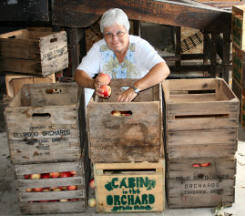 Vicky Thomas getting crating apples from The Orchard to bring them to market