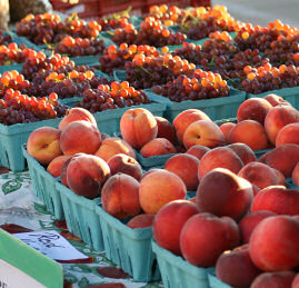 Peaches and grapes from The Thomas Family Orchard at the North Market in Columbus Ohio